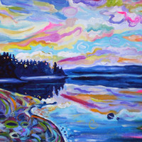 "ORIGINAL acrylic painting on stretched canvas - The Denman Sunrise - 14"" x 18"""
