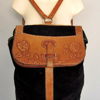 Vintage Tooled Leather and Suede Backpack Bag Hippie Floral Tooling Boho Rucksack
