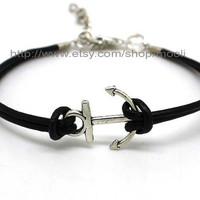 Anchor Bracelet Silver Anchor Bracelet Cuff With Black Leather Cuff Bracelet Women Bracelet Girl Bracelet Adjustable