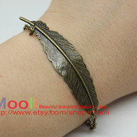 Steampunk Handmade Feather Bracelet Antique Brass Feather Bracelet Cuff Bracelet Chain Bracelet B524