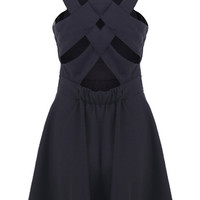 Strappy Back Black Shift Dress [NCSKD0286] - $40.57 :