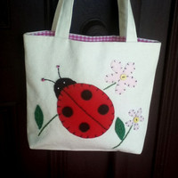 Small Canvas Tote Bag Ladybird Flower Tote