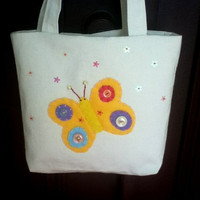 Small Canvas Tote, Butterfly Tote