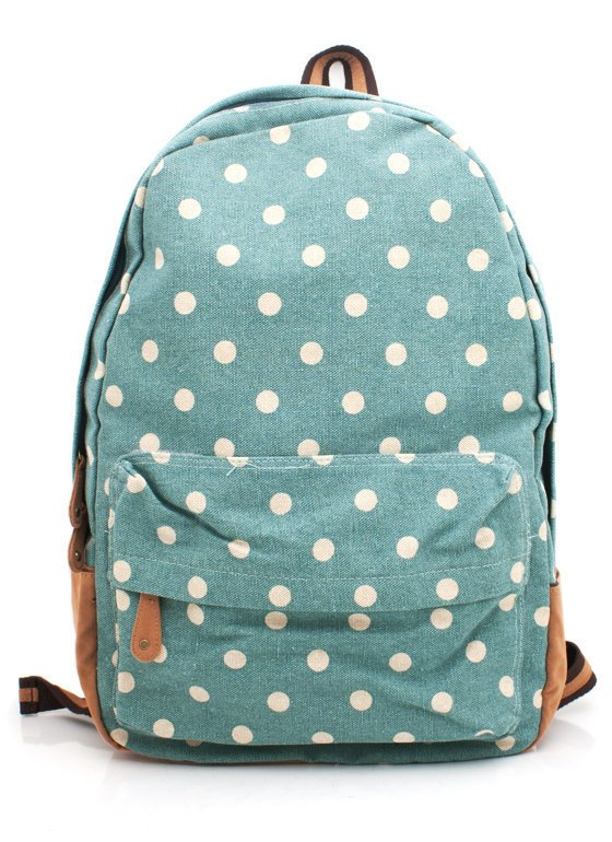 canvas-polka-dot-backpack SEAFOAM - GoJane.com