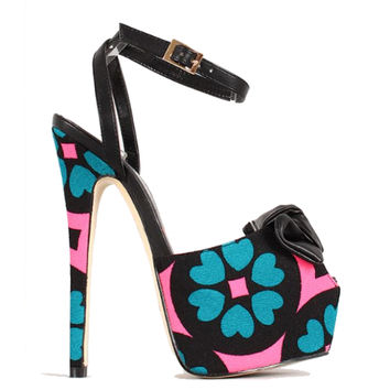 Dancing Queen Black Floral Peep toe Pump Platform Stiletto Heel