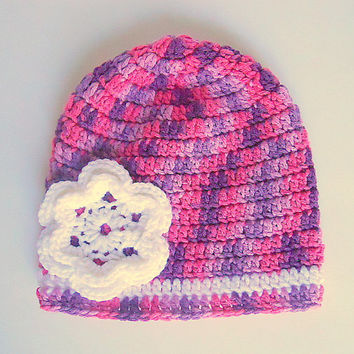 Toddler Girl Purple And Pink Hat Baby With White Flower 1 To 2 Year Old  Infant Winter Cap  Fall Beanie Crochet  Skullcap
