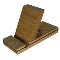 Wood Ipad Tablet Stand Oak with Walnut