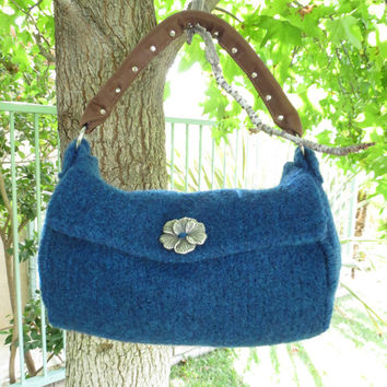 Sapphire Felted Purse Pattern, Knit Bag Pattern, Felted Purse, Knitted Purse, Knitting Pattern, Instant Download, PDF
