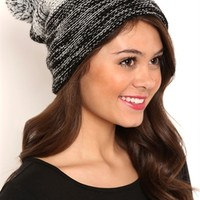 Marled Knit Striped Winter Hat with Pom