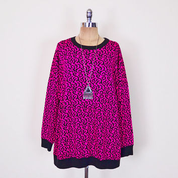 Hot Pink & Black Abstract Print Slouchy Oversize Sweatshirt Oversize Sweater Oversize Jumper Oversize Top 80s New Wave S M L XL XXL 1X 2X