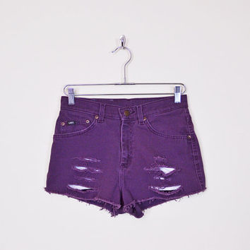 Purple Jean Short Cut Off Denim Short Cut Off Short Cut Off Jean Cutoff Short Cutoff Jean Cutoff Denim High Waist Short 90s Grunge M Medium