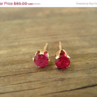 Summer Sale July Birthstone, Genuine Ruby Stud Earrings 14k Gold Filled, 4mm Ruby Post Earrings, Vintage Style, Summer Fashion, Pink Strawb