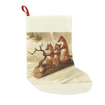 Sledding Foxes Vintage Christmas Stocking