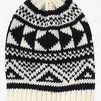 AZTEC JACQUARD SLOUCHY BEANIE HAT from EXPRESS