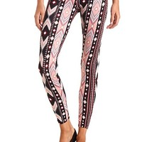 Cotton Geo-Tribal Printed Leggings by Charlotte Russe - Black Combo