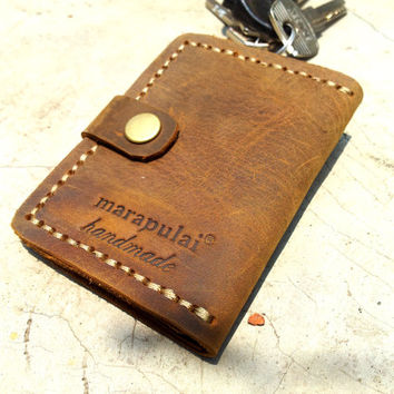 brown leather key pouch hand stitched key holder handmade keychain nature