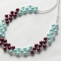 Blue and berry glass pearl necklace