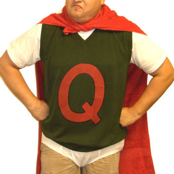 Quailman Sweater Vest Doug Funnie Q Adult Quail Man Costume 90 s Super    Quailman Q