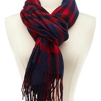 Traditional Plaid Wrap Scarf by Charlotte Russe - Red
