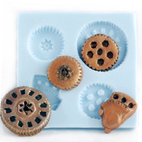 Gears Steampunk Mold Gothic Jewelry DIY Resin Clay Moulds - Scrapbook embellishment mold