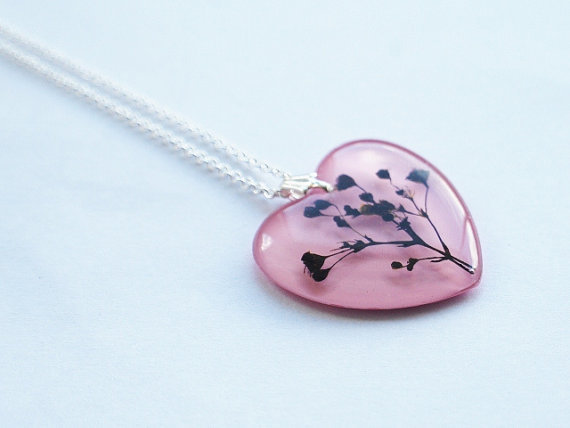 Pressed Flower Necklace 01 Pink Heart Resin Jewelry Real Flower Pendant Love Romantic 925 Silver Plated