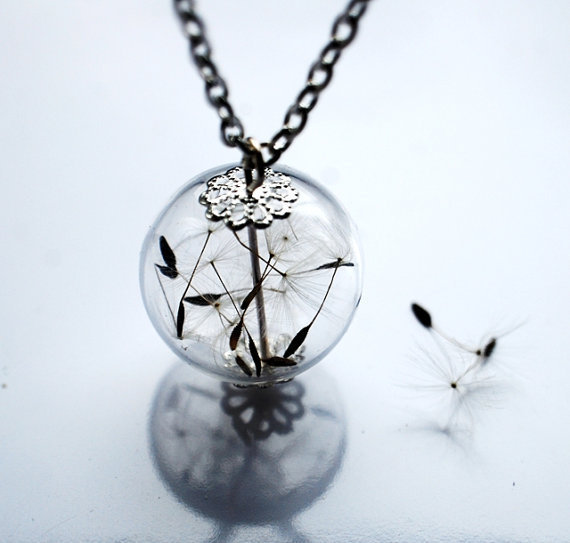 Dandelion Necklace Make A Wish 14 Glass Bead Orb Silver Necklace Botanical  Globe Beadwork