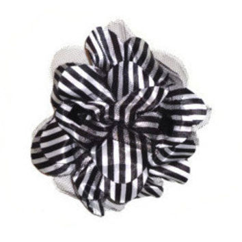 Large Black and White Striped Flower Hair Clip Brooch with Black Studs and Lace
