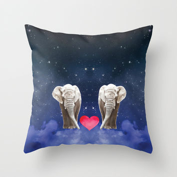 Elephant Love Throw Pillow by NisseDesigns