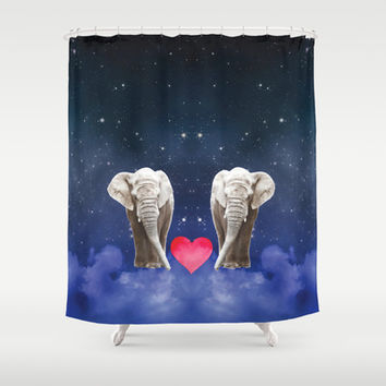 Elephant Love Shower Curtain by NisseDesigns