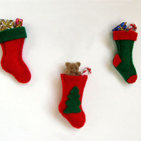 Felt Christmas Stockings - Set of 3 Christmas Ornaments
