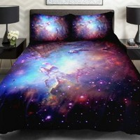 Anlye Bedding From home decorators Set 2 Sides Printing Nebula Quilt Coverlet Nebula Linen Sheets With 2 Decorative Pillow Covers Twin