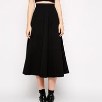 Glamorous Tall Textured Jersey Midi Box Pleat Skirt