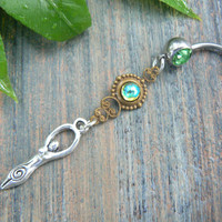 Earth Goddess belly ring Green Goddess new age Chakra Yoga meditation ohm belly dancer indie gypsy hippie fantasy  boho and hipster style