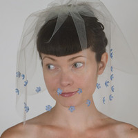 Something Blue - Wedding Veil with Blue Silk Flowers & Swarovski Crystals - Ivory Double Layer Blusher in Bridal Illusion Tulle