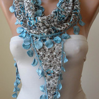 ON SALE - Perforated Fabric - Light Blue Scarf with Trim Edge - For Summer