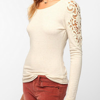 Pins and Needles Crochet Shoulder Long-Sleeved Tee
