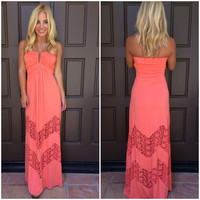 Maacha Crochet Lace Maxi Dress By SKY - V778RX - CORAL