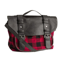 H&M - Plaid Messenger Bag - Red/checked - Ladies