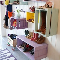 Colorful DIY Shoe Wall Storage System