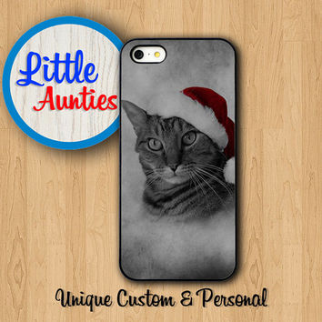 SANTA CAT Wear Red Hat IPHONE 6 Case iPhone 6 Plus New Year iPhone 5S iPhone 5C Vintage Smoke Winter iPhone 4S Samsung Galaxy S5 S4 S3 Note