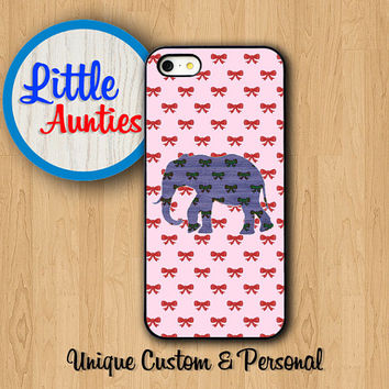 Bow Pattern Elephant CUTE PHONE CASES iPhone 6 iPhone 6 Plus Pink iPhone 5C Case Girl iPhone 5S iPhone 4S Personalized Samsung Phone Case S5