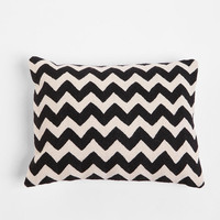 Crewel Embroidered Zigzag Pillow