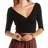 Three-Quarter Sleeve Crop Top by Charlotte Russe - Black