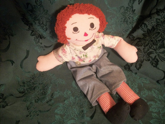 "1970's 19"" Handmade Raggedy Andy Doll - a  Vintage Collectable"
