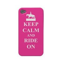 Keep calm & ride on (pink) iphone 4 cases from Zazzle.com