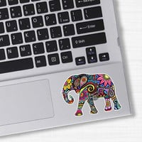 Small Elephant Car Decal Colorful Design Bumper Sticker Laptop Decal Pink Green Teal Yellow Jungle Flowers Cute Car Decal Hippie Boho Tribal