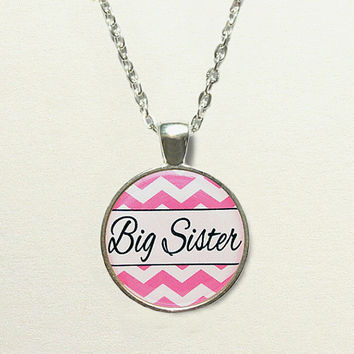 Pink or Blue Chevron Big Sister Necklace - unique big sister gift, big sister jewelry gift, chevron necklace, kids jewelry, children jewelry