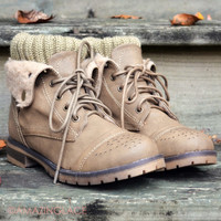 Mountain Escape Khaki Cuffed Ankle Boots