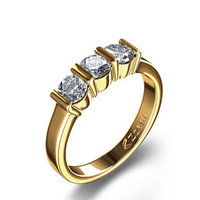 Three Stone 3/4 ctw Diamond Ring in 14k Yellow Gold