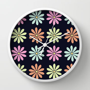 Colorful Daisies Wall Clock by KJ53321 | Society6